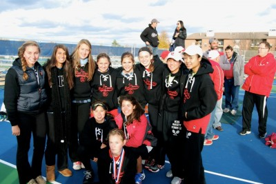 Girls tennis places second at state