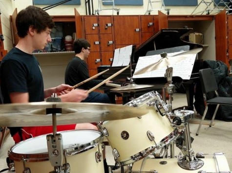 Up early in the morning, percussionist Alex Kane stays awake through Jazz Lab.