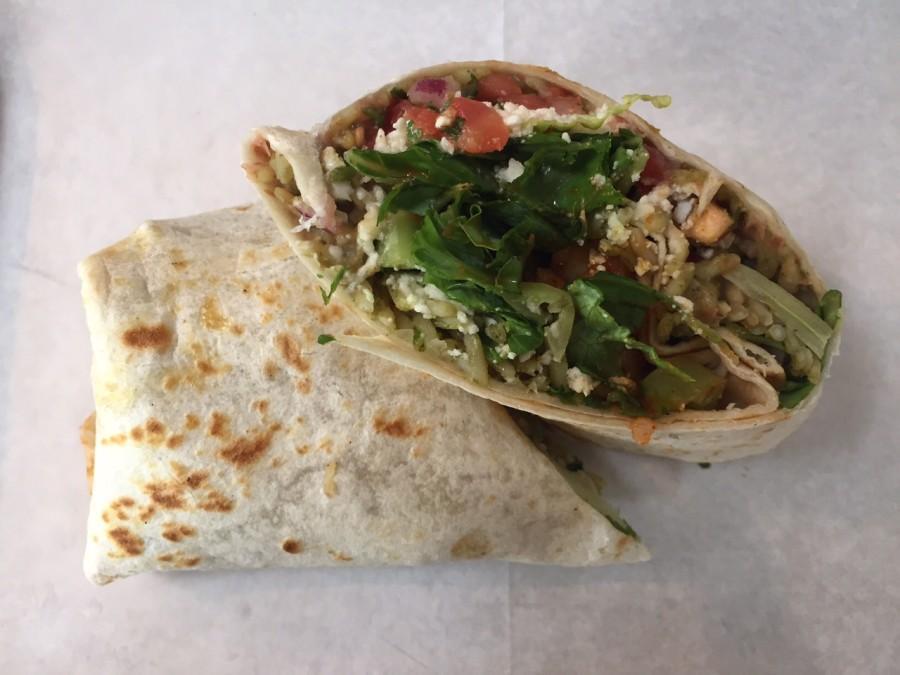 The shrimp burrito takes a zesty take on your average burrito