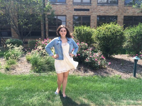 Katie Callahan pairs her sundress with a jean jacket to cover her when it's cold and to easily take off when it's warm.