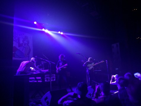 In a dim-light Vic Theatre, Chicago-based band Twin Peaks perform to a excited crowd.