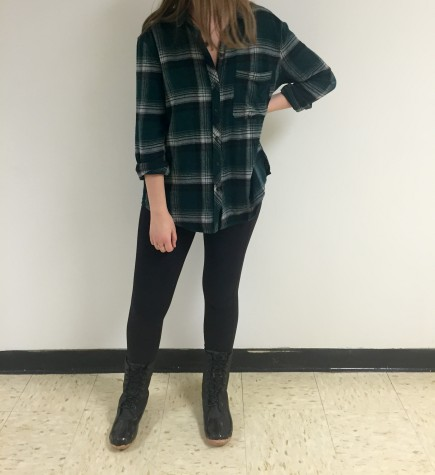 Sporting an Urban Outfitters flannel and boots from DSW, this outfit classes it up a bit with the holiday color flannel.