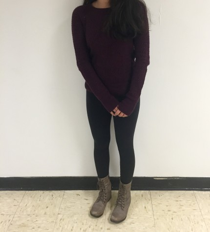 Wearing an American Eagle sweater and Steve Madden shoes, this outfit shows a relaxed and fun look for the season.