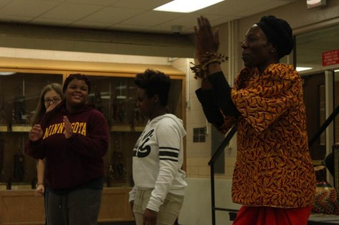 Students met performers who danced to African drums on Friday, Feb. 5.