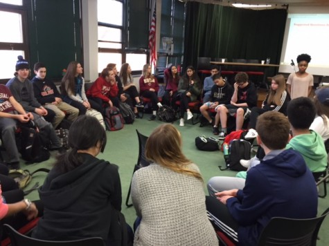 Various classes attended a 'town hall' meeting on Friday, Feb. 19 that brought awareness to racial issues in the school, community and country.