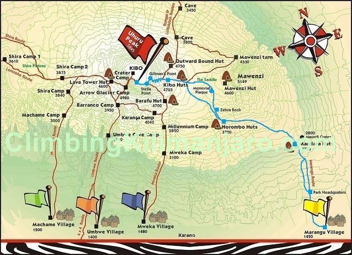 The route to the peak of Kalimanjaro.