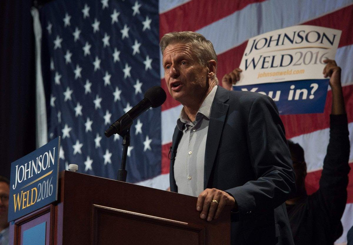 Gary Johnson spoke at one of his rallies in New York.