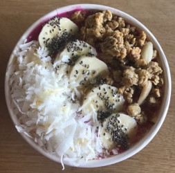 Most students enjoy fresh juices and smoothie bowls, which include mixed fruit, almond milk and a variety of toppings.