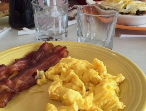 Scrambled eggs and bacon.
