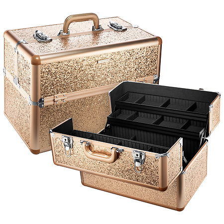 A makeup bag or travel box keeps products orderly.