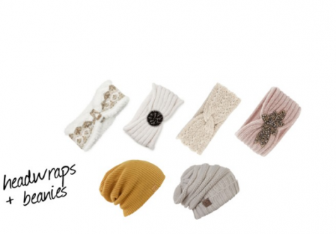Knit headwraps and beanies are popular hat trends for the season.
