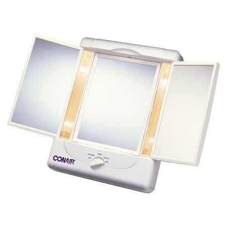 A mirror with different light settings allows you to quickly correct mistakes and see clearer.