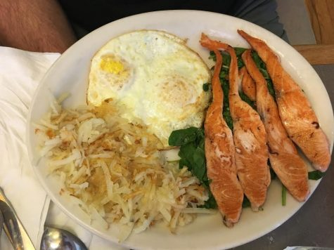 Salmon, eggs, and hash browns.