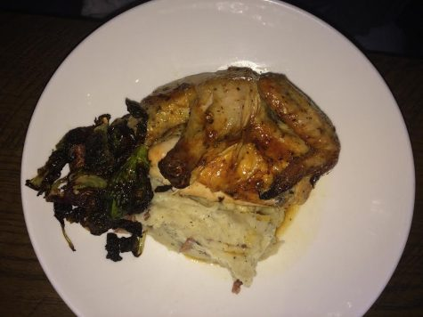 The Free Bird Rotisserie Half Chicken with carmelized brussel sprouts and whipped potatoes.