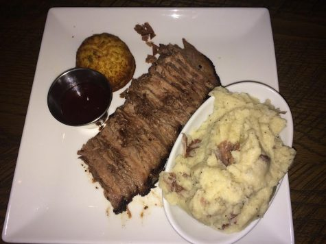 The 18 Hour Certified Angus Beef Brisket comes with whipped potatoes, jalapeño cornbread and steak sauce.